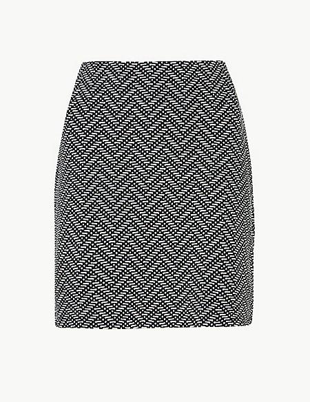 Printed Jersey A-Line Mini Skirt