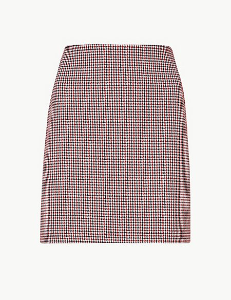 Jersey Checked A-Line Mini Skirt
