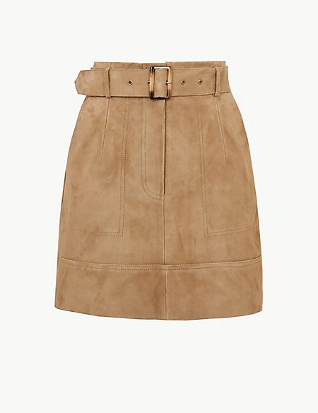 Suede Belted A-Line Mini Skirt