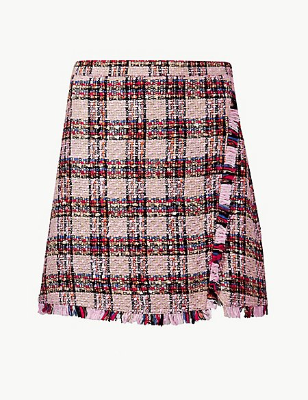 Checked Fringe Detail Wrap Mini Skirt