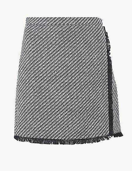 Textured Fringe Detail Wrap Mini Skirt