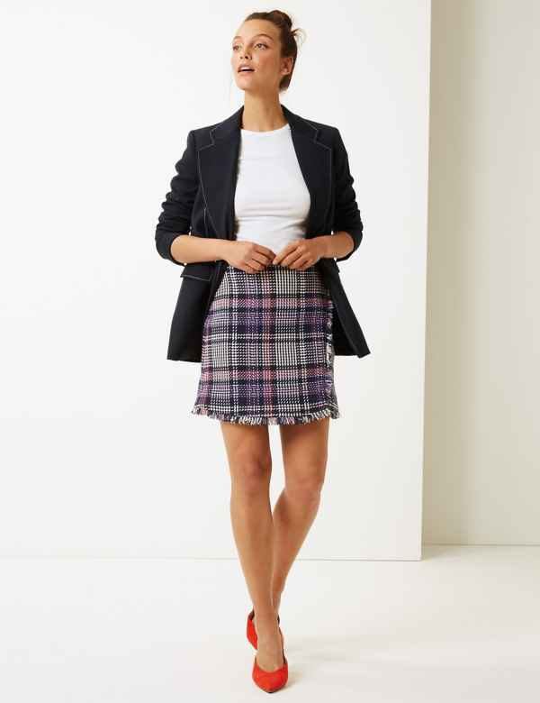 3833a6fa9c1f4 Checked Pencil Mini Skirt