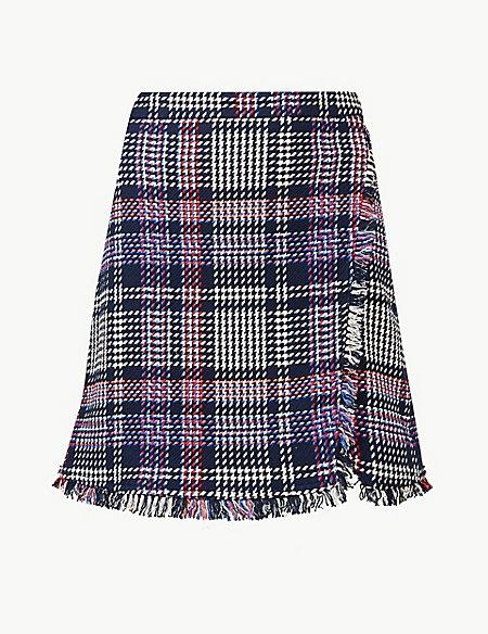 Checked Pencil Mini Skirt