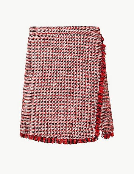 Textured Wrap Mini Skirt