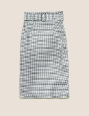 Checked Belted Pencil Skirt