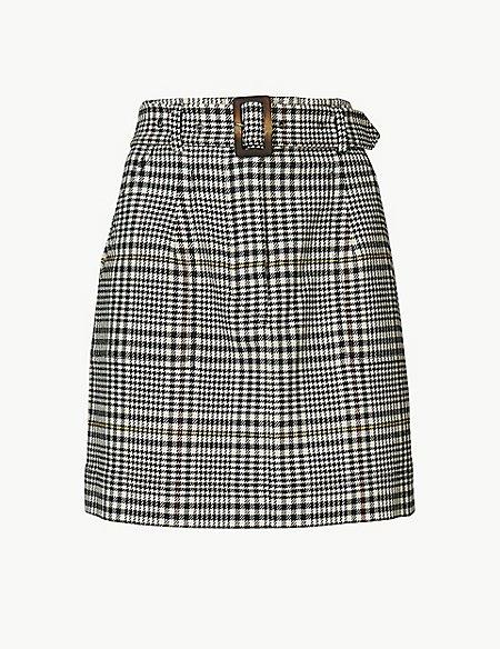 Cotton Rich Checked A-Line Mini Skirt