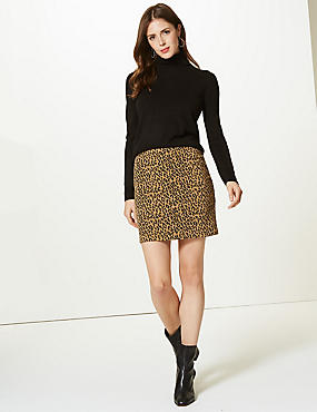 Animal Print A-Line Mini Skirt