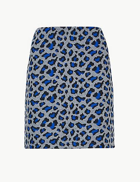 Animal Print Jersey A-Line Mini Skirt