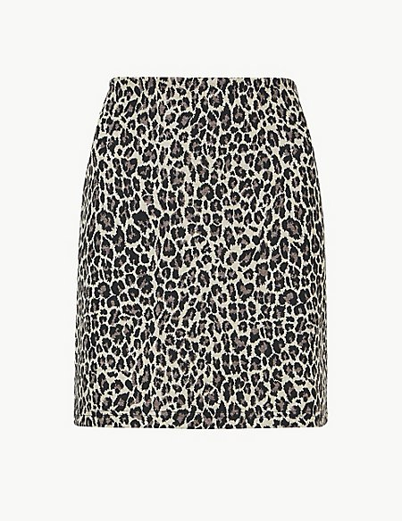 Animal Print Jersey A-Line Mini Skirt