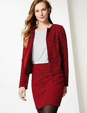 Animal Print Jersey A-Line Skirt
