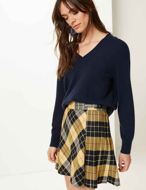 62f9c17e97a Checked A-Line Mini Skirt
