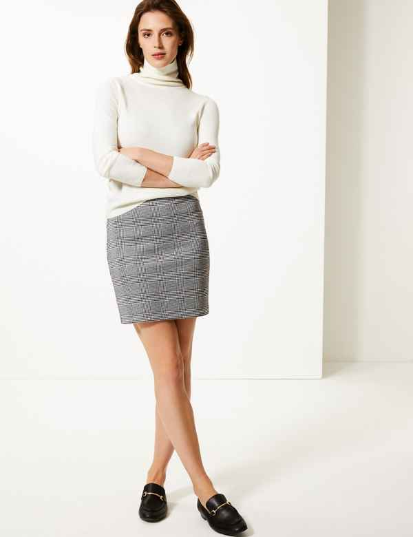 56cfe527f8 Checked Jersey A-Line Mini Skirt