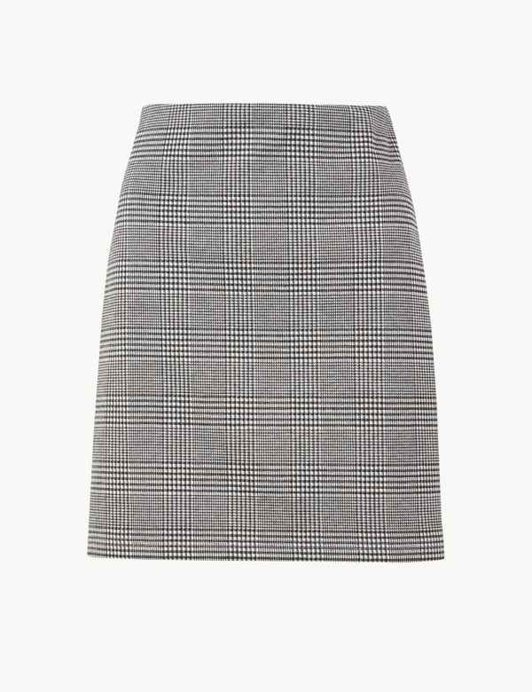 3420e295c5 Checked Jersey A-Line Mini Skirt. New