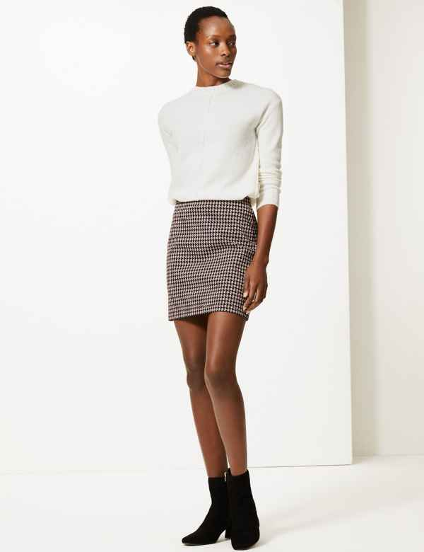 b98f115bff Dogtooth Checked Jersey A-Line Skirt