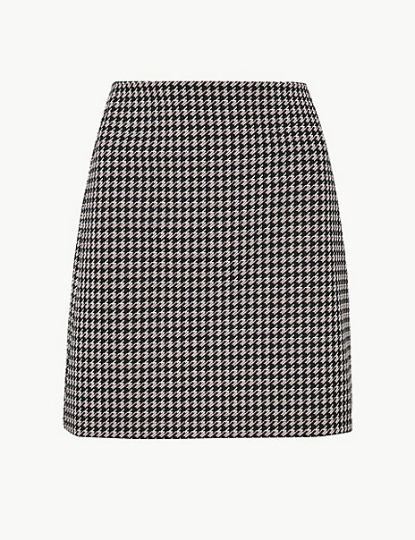 Dogtooth Checked Jersey A-Line Skirt