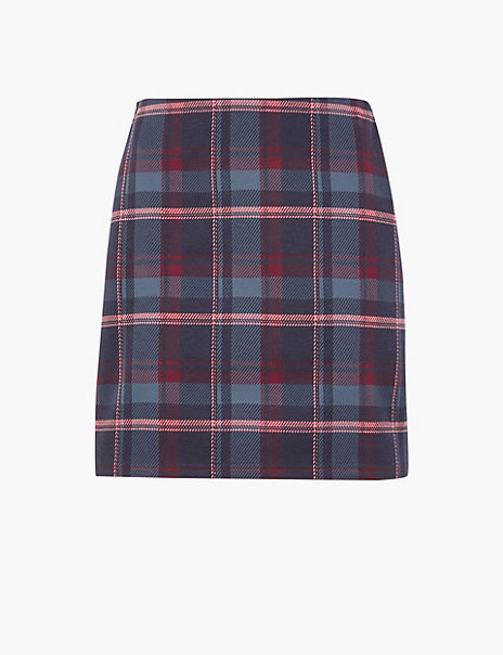 Checked Jersey Pencil Mini Skirt