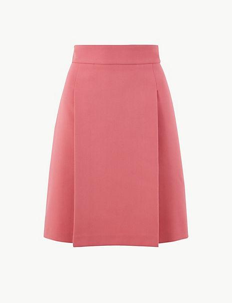 Pleat Front Mini Skirt
