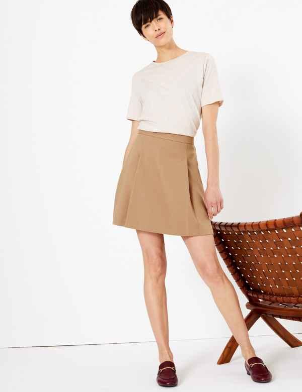 bb722e93e1 Pleat Front Mini Skirt