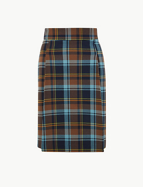 Checked Pleat Front Mini Skirt