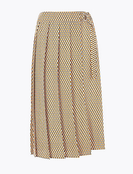 Geometric Print Pleated Wrap Midi Skirt
