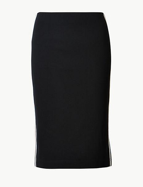 Jersey Side Stripe Slit Skirt