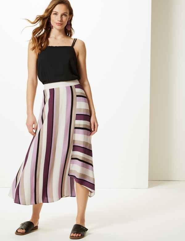 16b713a9fc Striped Asymmetric Midi Skirt