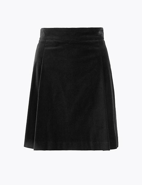 Velvet Pleated Mini Skirt