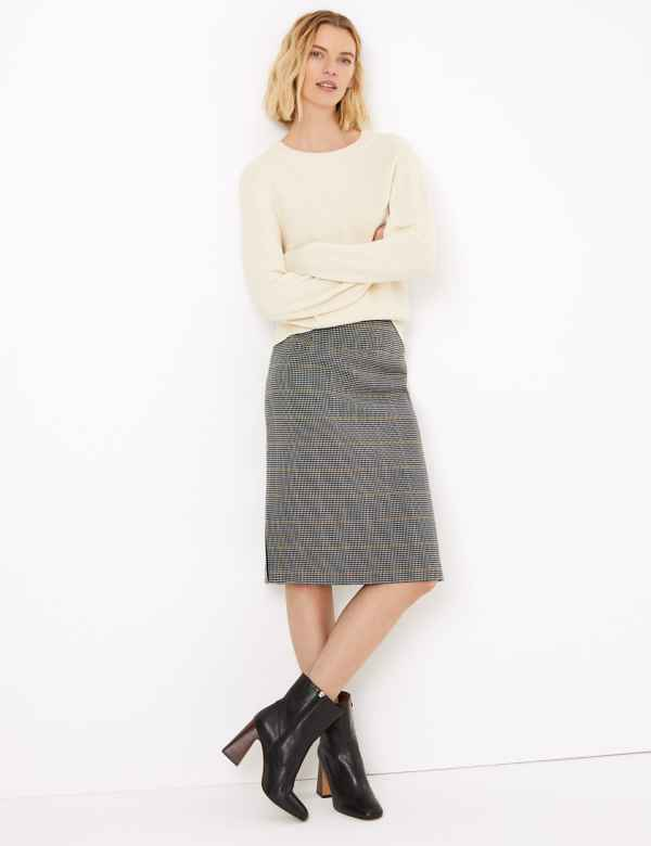 clp60386529: Checked Tailored Pencil Skirt