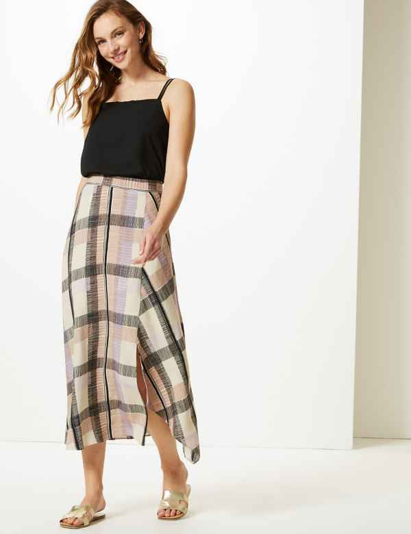 9ae6d5d028156 Checked Asymmetric Midi Skirt