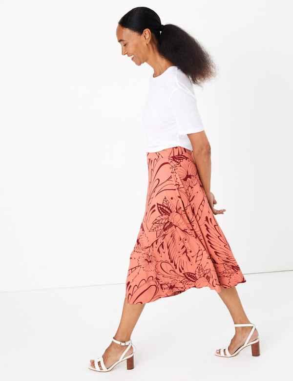 3422b017695b Floral Jersey A-Line Midi Skirt. New