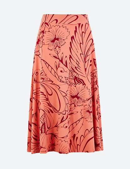 MARKS /& SPENCER COLLECTION FLORAL PRINT MIDI A LINE SKIRT Sizes 8,18