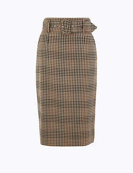 Belted Checked Midi Pencil Skirt
