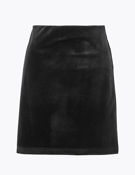 Velvet A-Line Mini Skirt