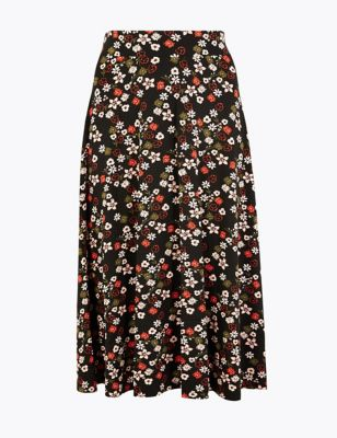 3d499b8be Floral Print Jersey Pleated Midi Skirt £29.50
