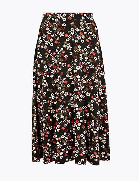 Floral Print Jersey Midi Skirt