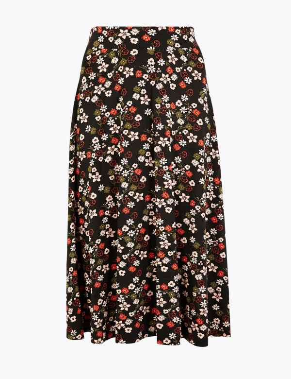 2242d9268614 Floral Print Jersey Pleated Midi Skirt