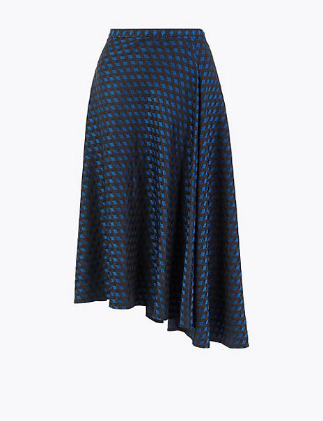 Jacquard Pleated Midi Skirt
