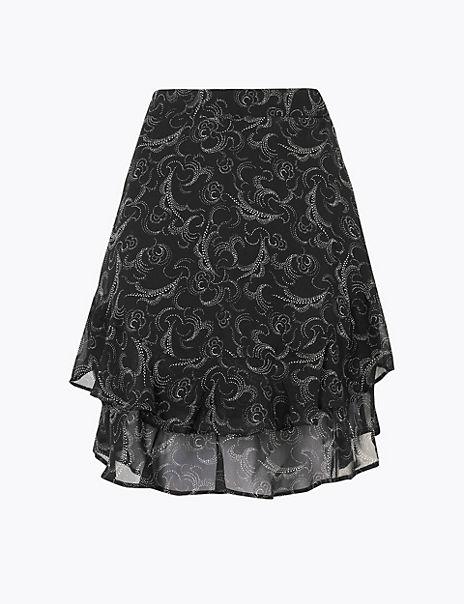 Printed Ruffled A-Line Mini Skirt