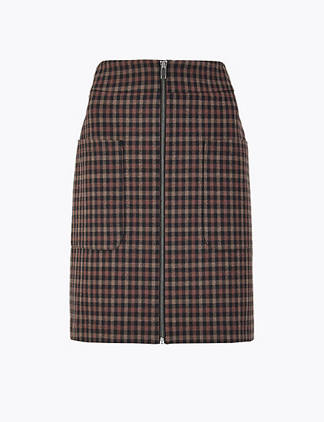 Checked Patch Pocket Mini Skirt