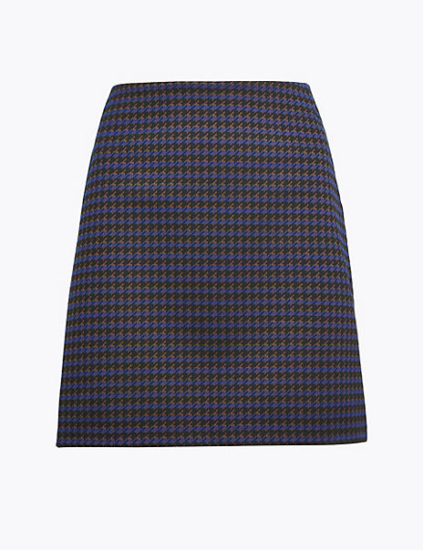 Dogtooth A-Line Mini Skirt