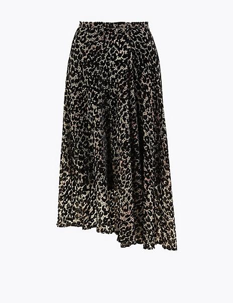 Velvet Animal Print Pleated Midi Skirt