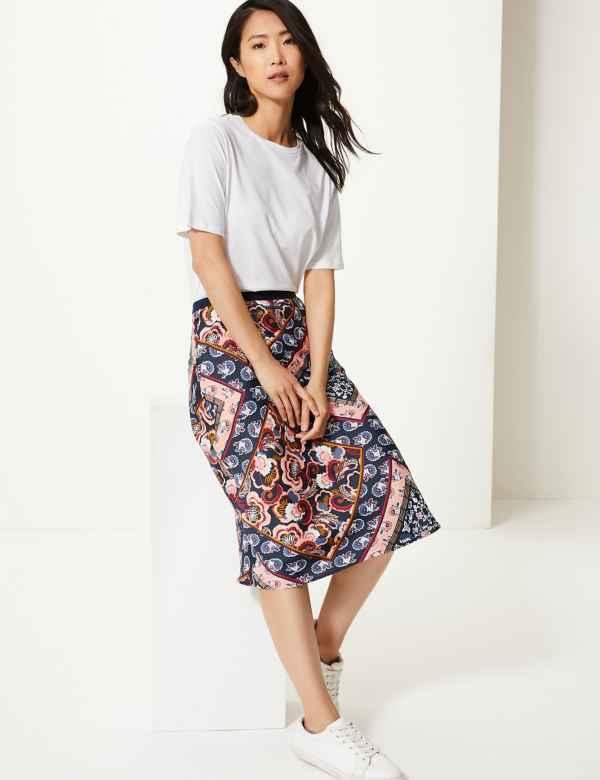 22f4c0f460 Paisley Scarf Print Slip Skirt
