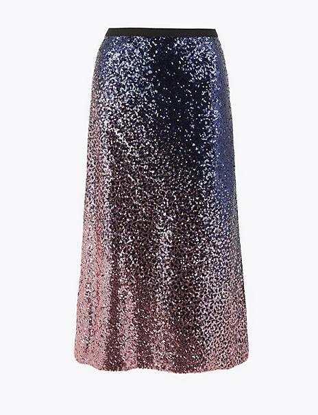 Ombre Sequin Slip Midi Skirt