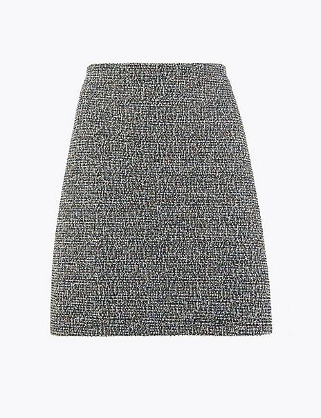 Textured Jersey A-Line Mini Skirt
