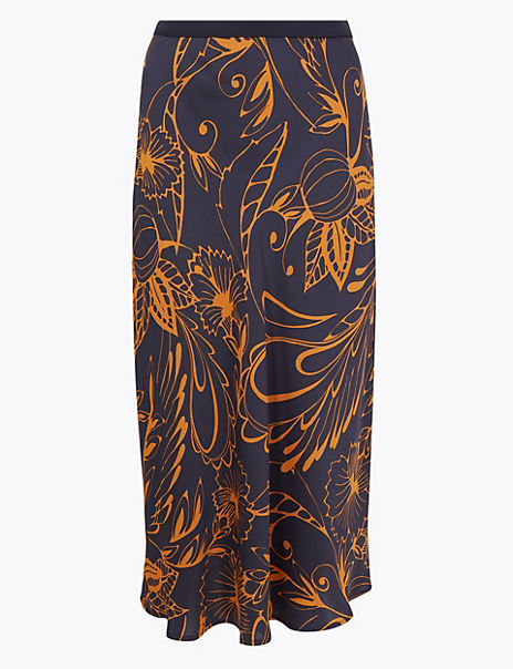 Abstract Print Slip Midi Skirt