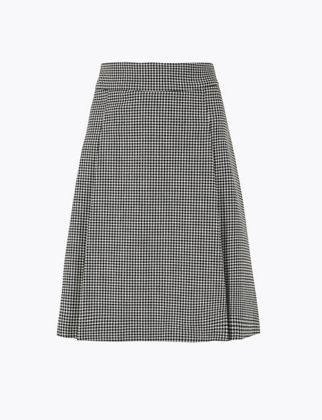 Pleat Front Dogtooth Mini Skirt