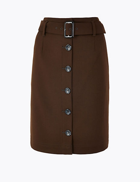 Button Front Belted Mini Skirt