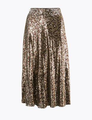 Sequin Animal Print Slip Midi Skirt