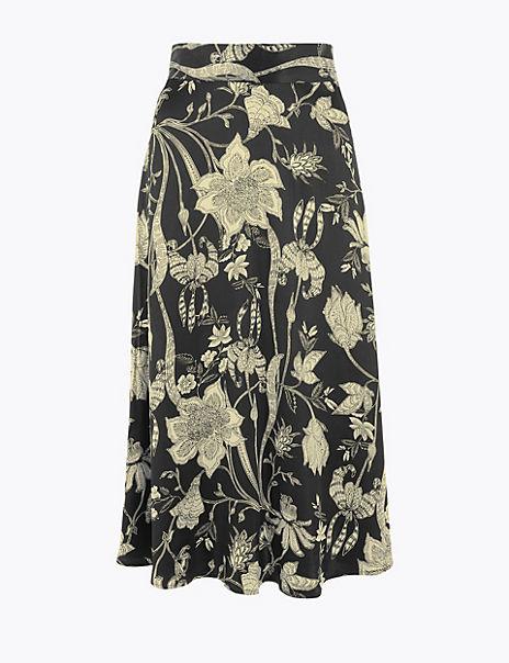 Floral Print Fit & Flare Midi Skirt