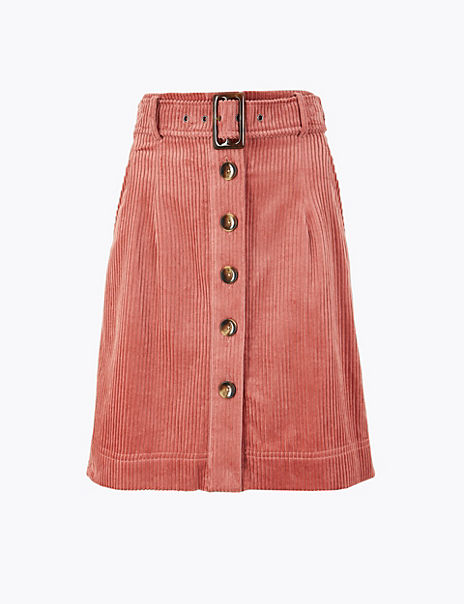 Cord Button Front Belted Mini Skirt